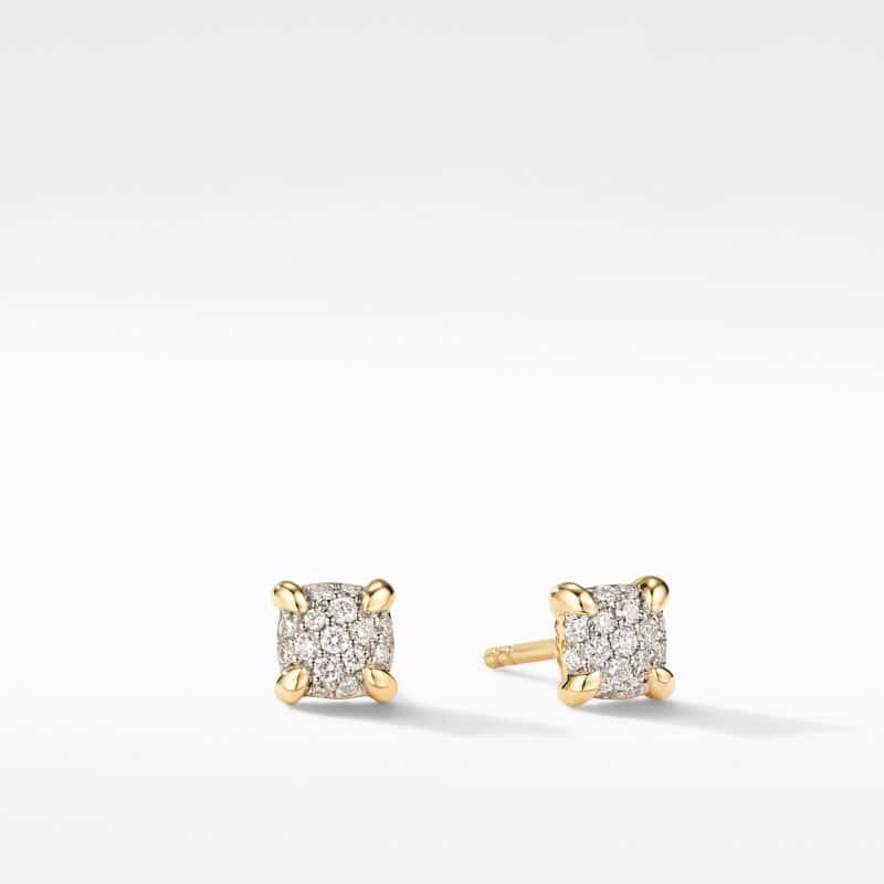David Yurman Petite Chatelaine® Stud Earrings in 18K Yellow Gold with Diamonds Image