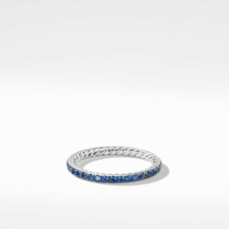 David Yurman DY Eden Band Ring in Platinum with Blue Sapphires Image