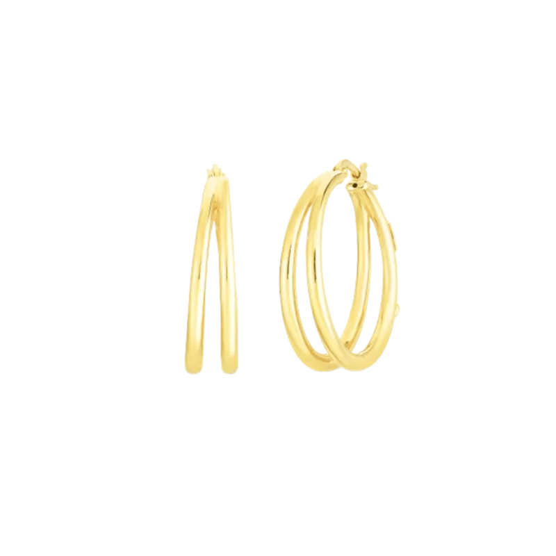 Roberto Coin Perfect Gold Hoops Thin Double Hoop Earrings