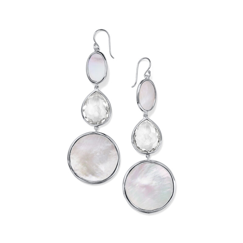 Ippolita Rock Candy Sterling Silver Ondine Graduated Drop Earring in Clear Quartz and Mother-of-Pearl Slice Image 1