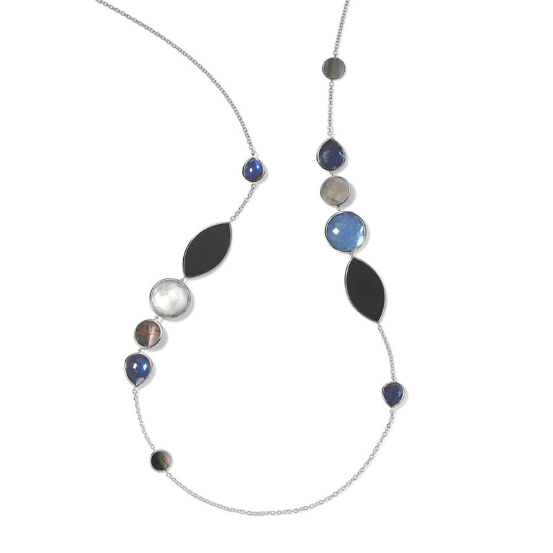 """Ippolita Wonderland Sterling Silver Wonderland Stone and Shell Station Necklace in Astro 38"""" Image 1"""