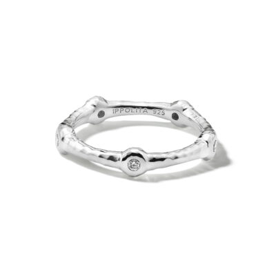 Ippolita Stardust Sterling Silver Stardust Bezel-Set 5-Diamond Station Ringwith Diamonds (0.10ctw) Image 1