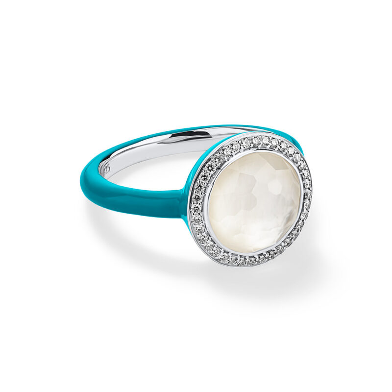 Ippolita Carnevale Sterling Silver Carnevale Ring in MOP Doublet and Turquoise Ceramic Shank with Diamonds (.16ctw) (Size 6) Image 1