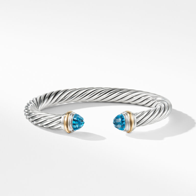 David Yurman Cable Classics Collection® Bracelet with Blue topaz and 14K Gold Image 2