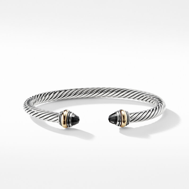 David Yurman Cable Classic Bracelet with Black Onyx and Gold Image 2