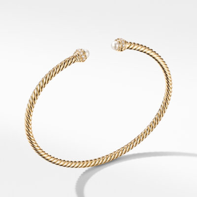 David Yurman Cable Spira Bracelet in 18K Yellow Gold with Pearls and  Diamonds Image 1