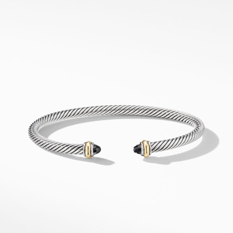 David Yurman Cable Classic Bracelet with Black Onyx and 18K Yellow Gold Image 2