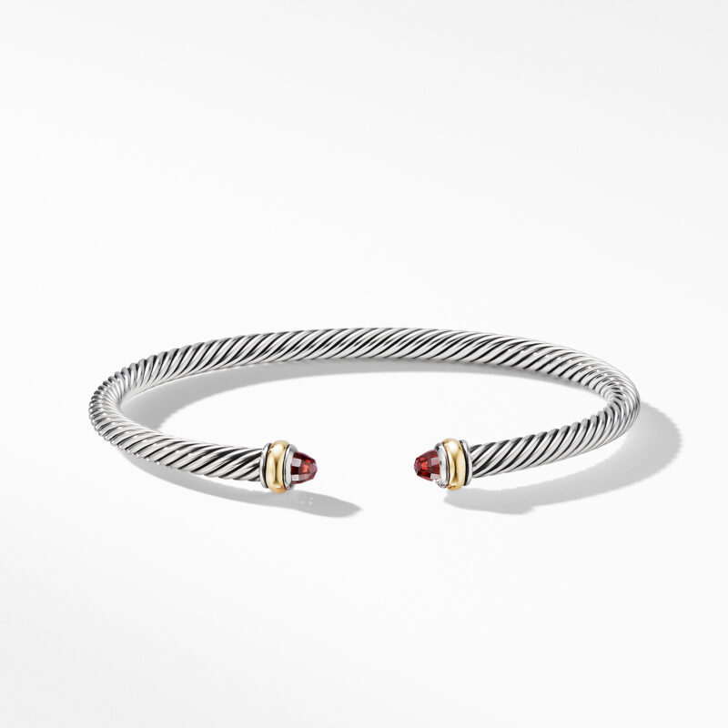 David Yurman Cable Classic Bracelet with Garnet and 18K Yellow Gold Image 2