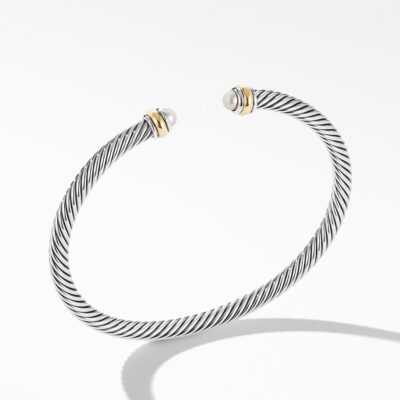 David Yurman Cable Classic Bracelet with Pearl and 18K Yellow Gold Image 1