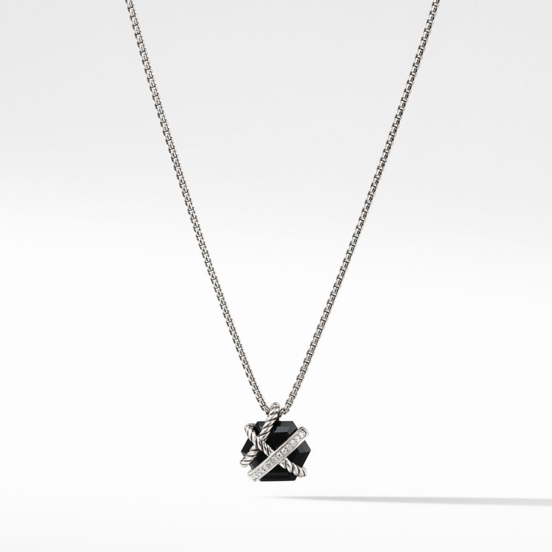 David Yurman Cable Wrap Necklace with Black Onyx and Diamonds Image 1