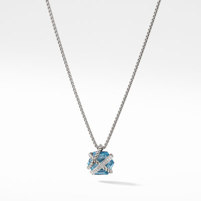 David Yurman Cable Wrap Necklace with Blue Topaz and Diamonds Image 1
