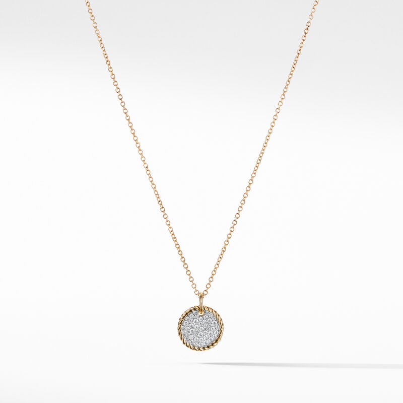 David Yurman Cable Collectibles Pavé Charm Necklace with Diamonds in 18K Gold Image 1