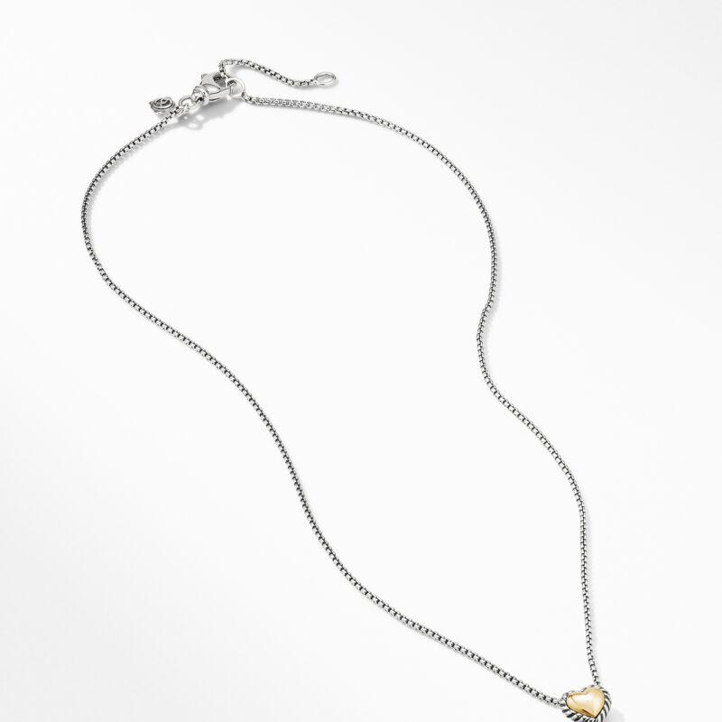 David Yurman Cable Cookie Classic Heart Necklace with 18K Yellow Gold Image 2