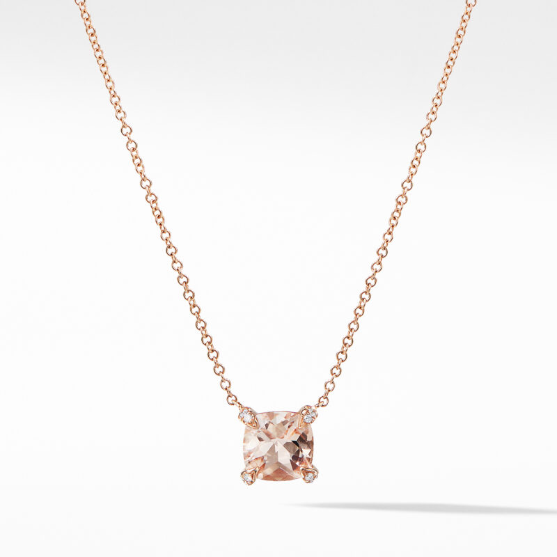 David Yurman Chatelaine® Pendant Necklace with Diamonds in 18K Rose Gold with Morganite Image 1