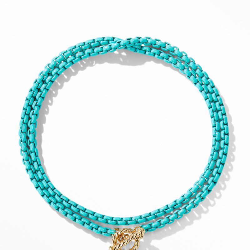 David Yurman DY Bel Aire Chain Necklace in Turquoise with 14K Gold Accents Image 3