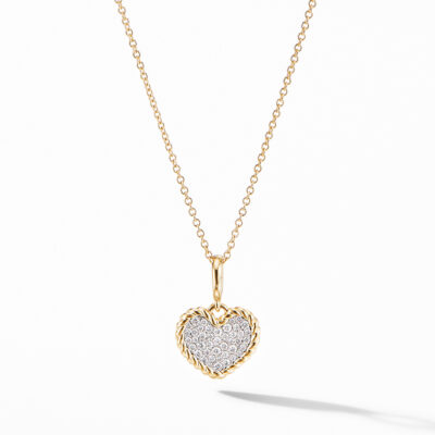 David Yurman Cable Collectibles® Pavé Plate Heart Charm Necklace in 18K Yellow Gold Image 1