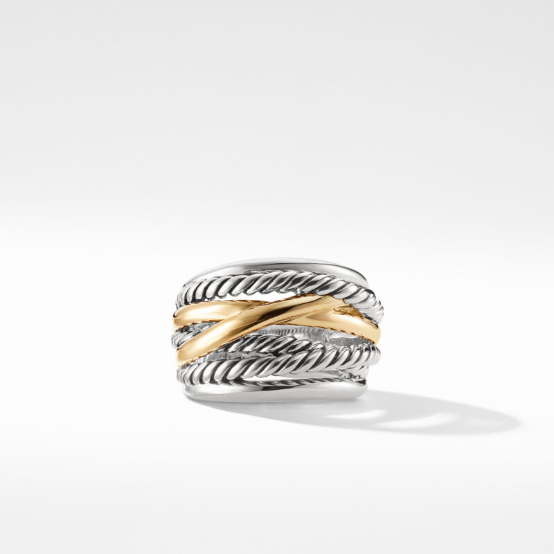 David Yurman Crossover Wide Ring with Gold Image 2