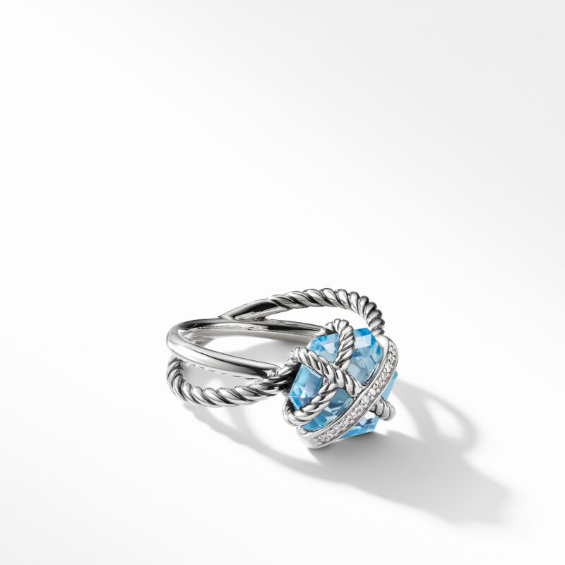 David Yurman Cable Wrap Ring with Blue Topaz and Diamonds Image 1