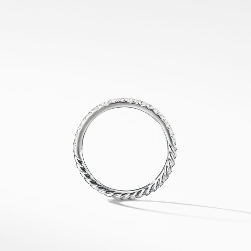 David Yurman Cable Pavé Band Ring with Diamonds in 18K Gold Image 2