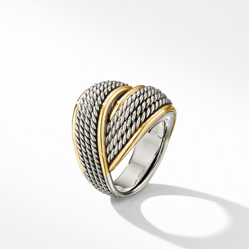 David Yurman DY Origami Crossover Ring with 18K Yellow Gold Image 3