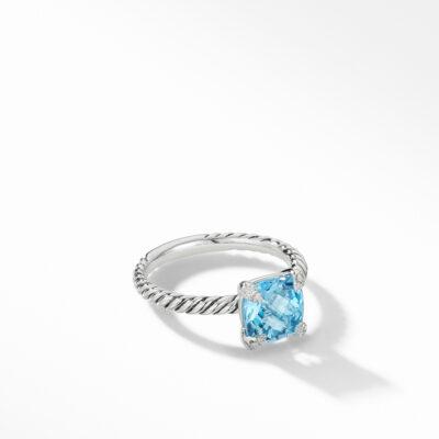 David Yurman Chatelaine® Ring with Blue Topaz and Diamonds Image 1