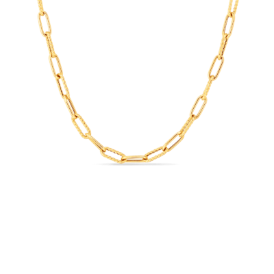 """Roberto Coin 17"""" Alternating Polish Paperclip Chain Necklace Image 1"""