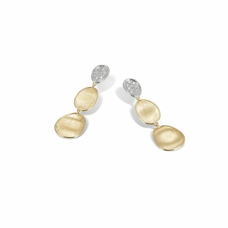 Marco Bicego Lunaria Collection 18K Yellow Gold and Diamond Petite Triple Drop Earrings Image 1