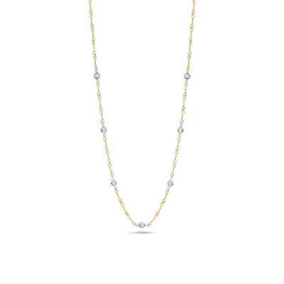 Roberto Coin Dogboone Chain Necklace with Diamond Stations Image 1